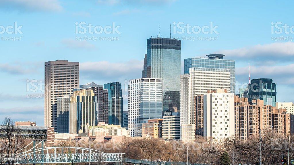 Skyline of Minneapolis, Minnesota in the Autum stock photo