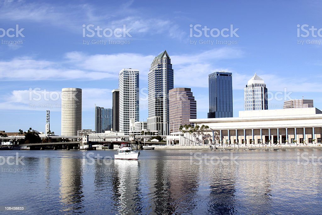 Skyline of modern architecture in downtown of Tampa, Florida stock photo