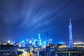 skyline of modern city at night