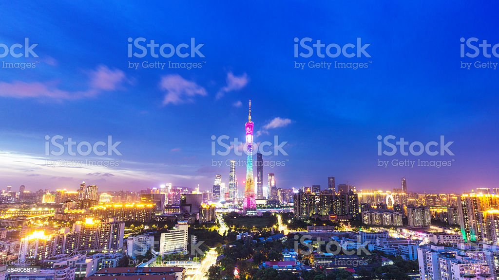 skyline of modern city with sunset in guangzhou stock photo