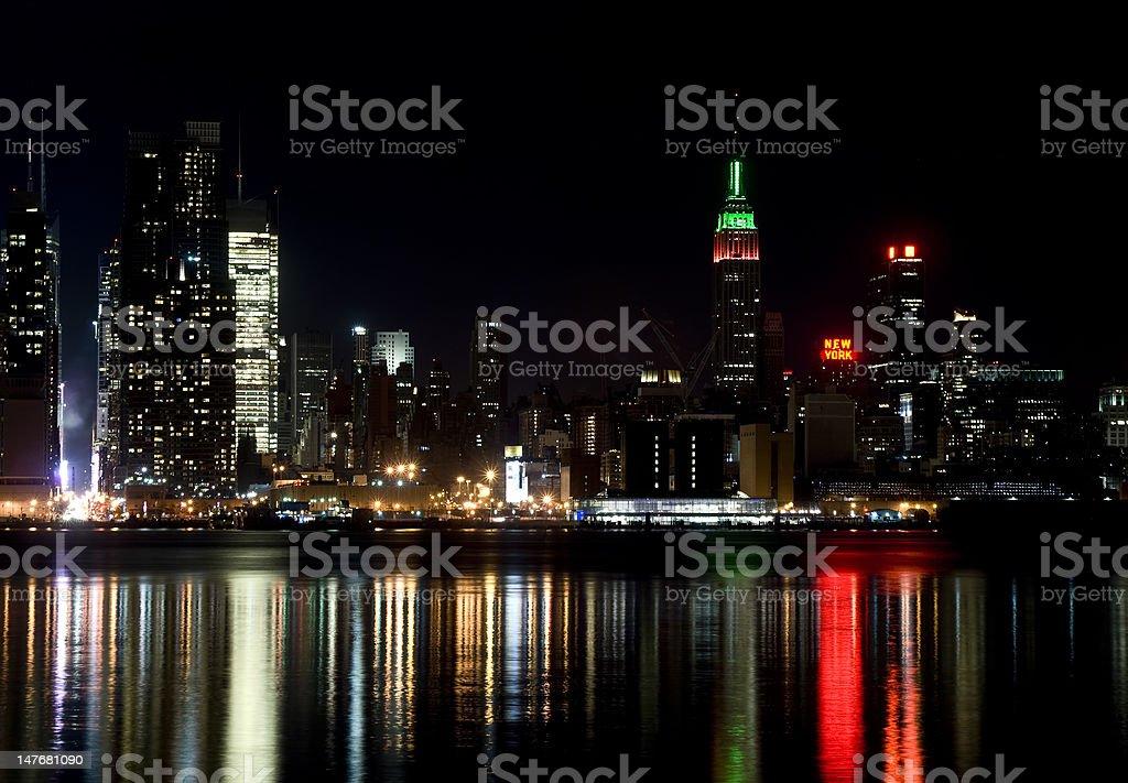 Skyline of New York City, at night royalty-free stock photo