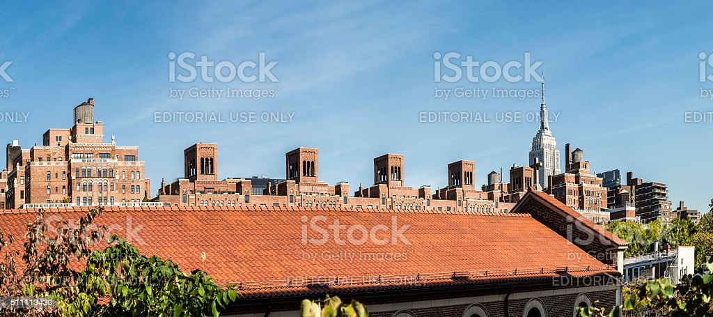 skyline of New York city  from the lower west side stock photo