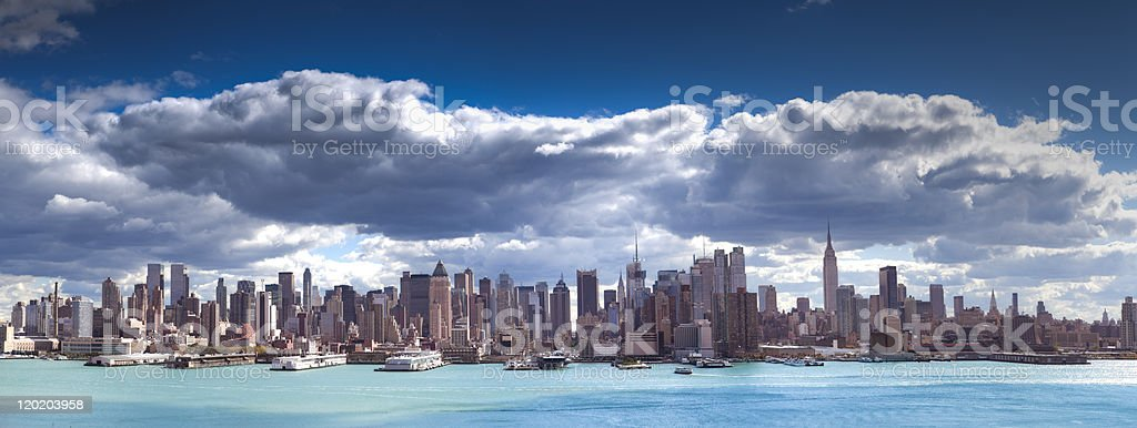 Skyline of New York City with dramatic sky royalty-free stock photo