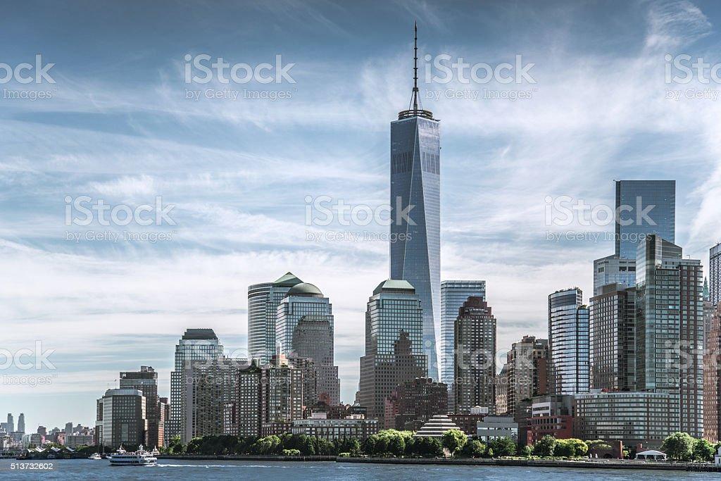Skyline of New York City with World Trade Center stock photo