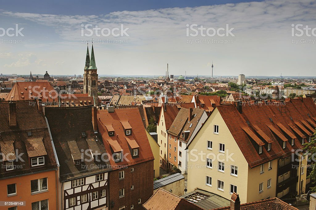 Skyline of Nuremberg stock photo