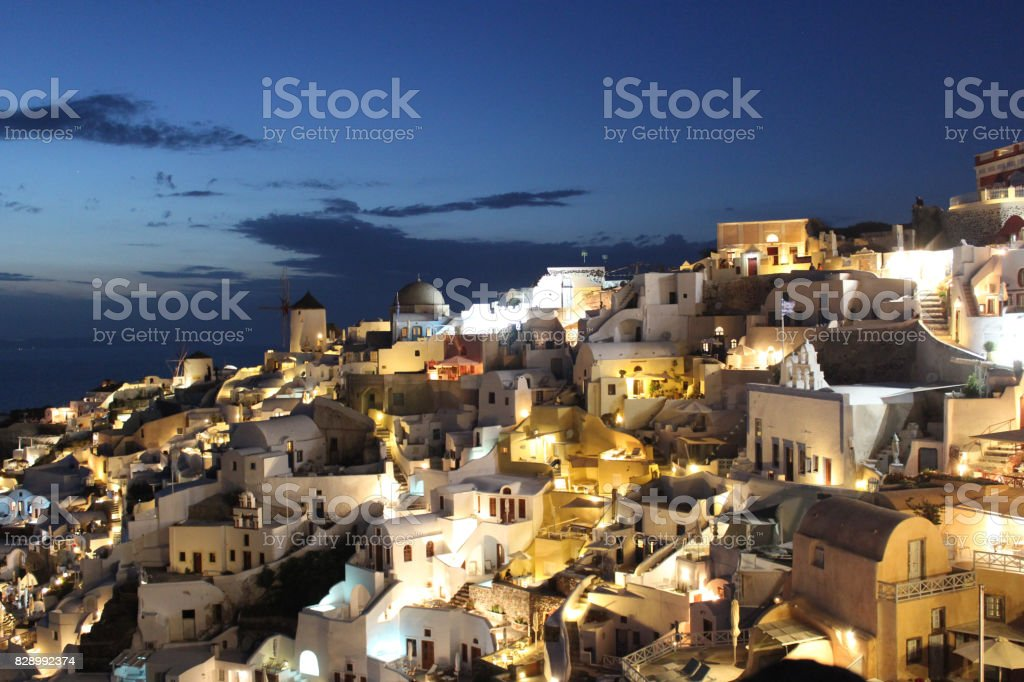 Skyline of Oia village traditional Greek island in Santorini, Greece stock photo