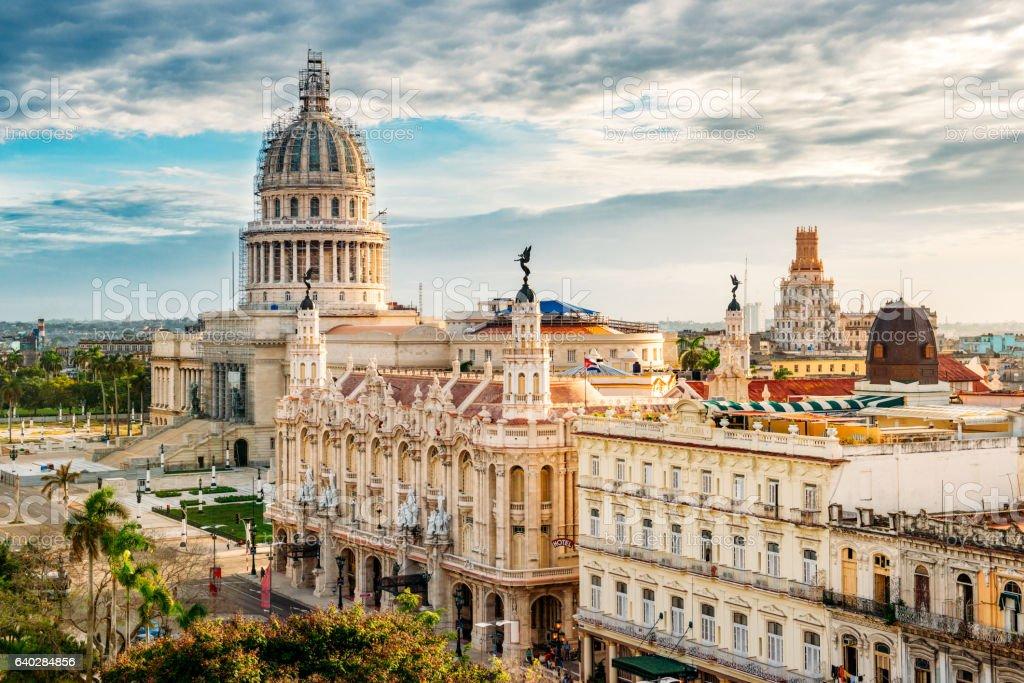 Skyline of Old Havana Cuba stock photo