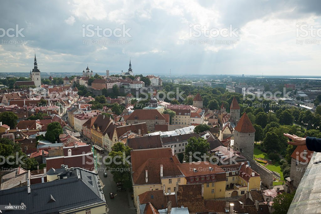 Skyline of old town in Tallinn, Estonia stock photo