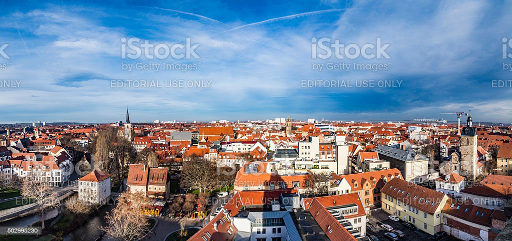 skyline of old town of Erfurt, Germany stock photo