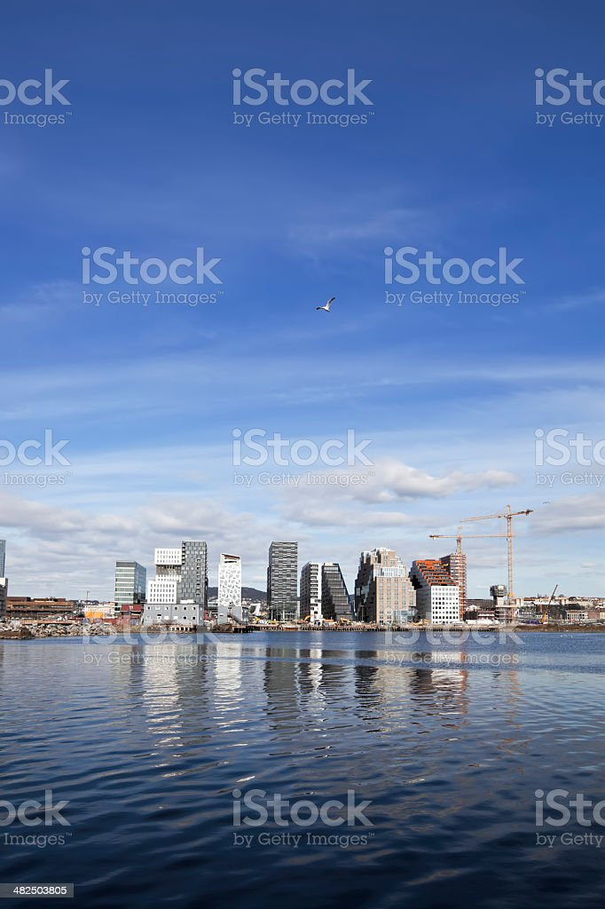 Skyline of Oslo reflecting in water on a sunny day. royalty-free stock photo