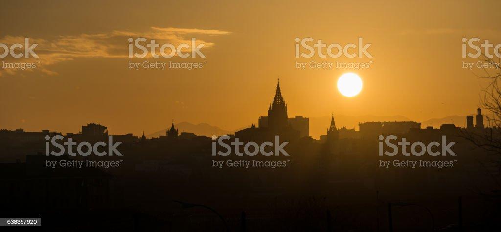 Skyline of Oviedo by Sunset stock photo