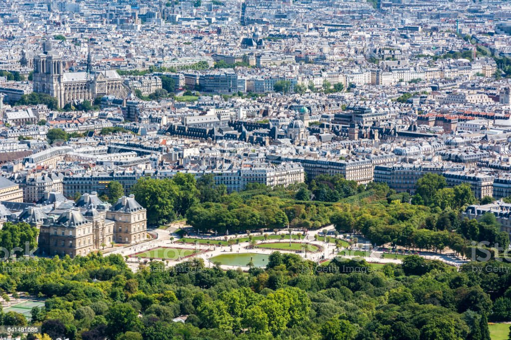 Skyline of Paris from the top of the Montparnasse tower stock photo