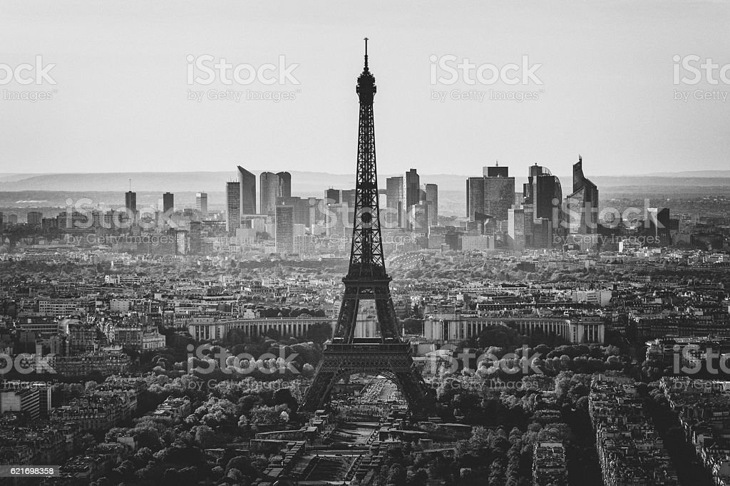 Skyline of Paris in black and white stock photo