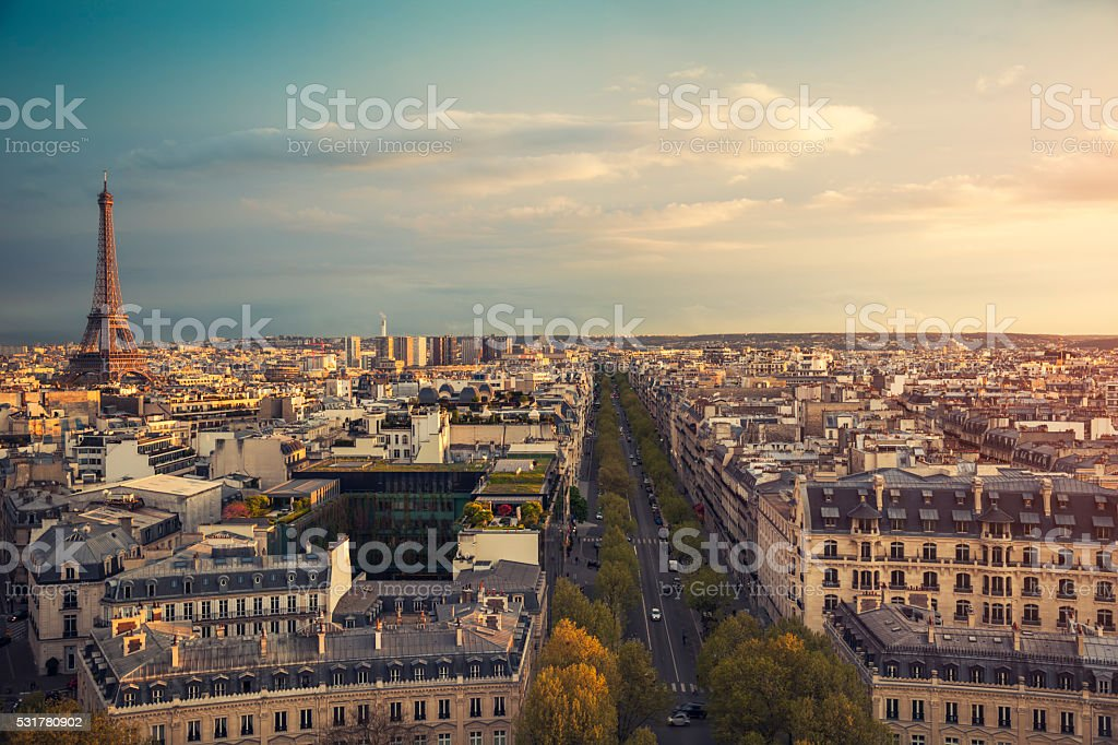 Skyline of Paris with Eiffel Tower during sunset (Paris, France) stock photo