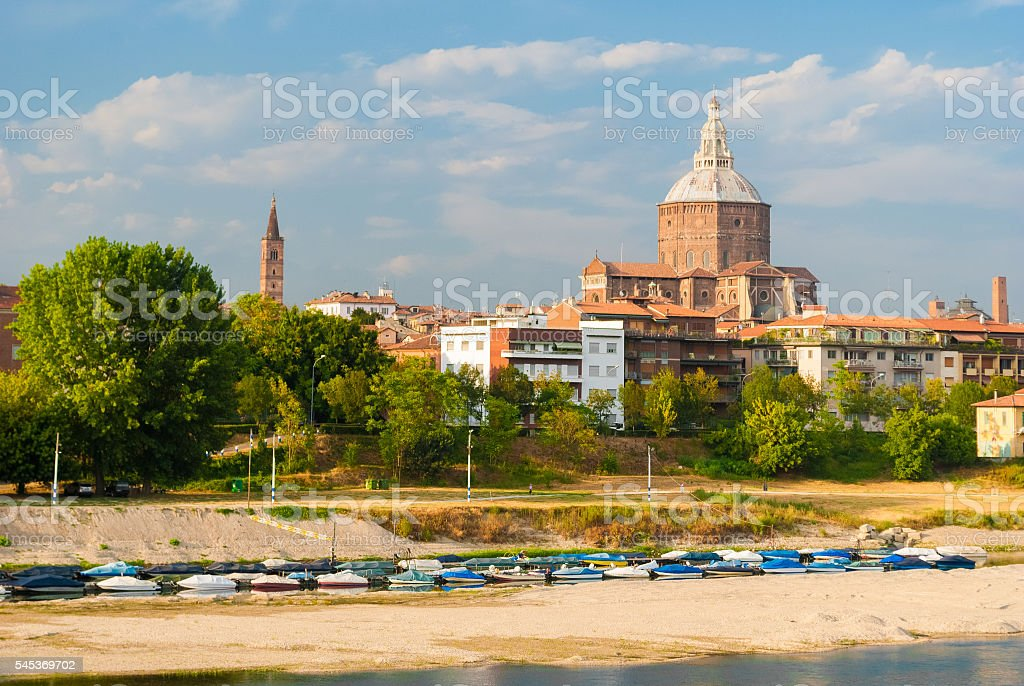 Skyline of Pavia with the big dome of the cathedral stock photo