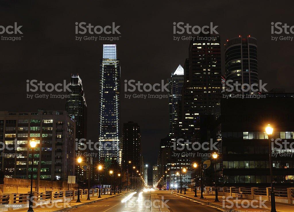 Skyline of Philadelphia at Night royalty-free stock photo