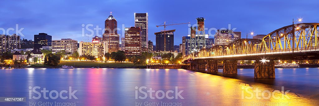 Skyline of Portland, Oregon across the Willamette River, at night stock photo