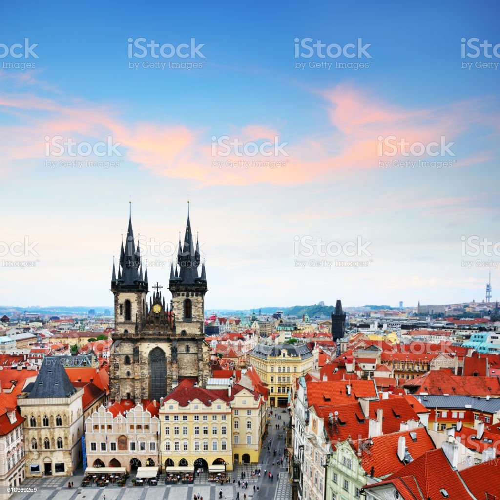 Skyline of Prague stock photo
