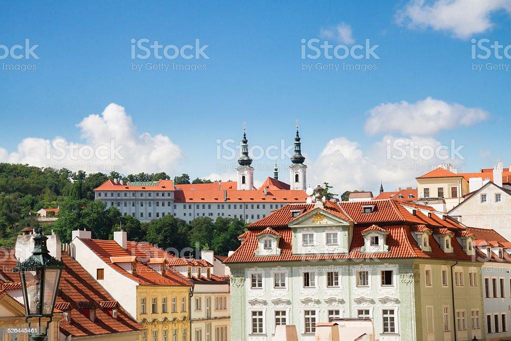 skyline of Prague with Strahov monastery stock photo