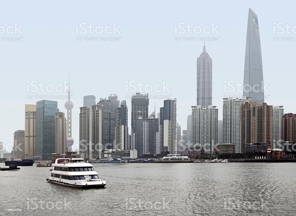 Skyline of Pudong in Shanghai royalty-free stock photo
