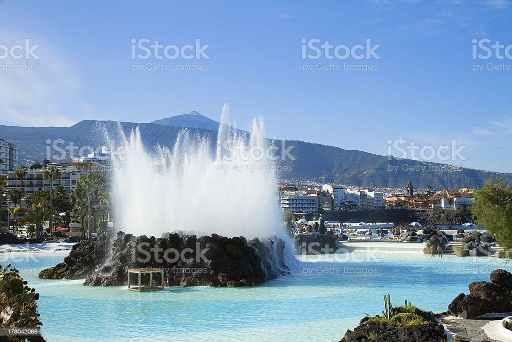 skyline of Puerto Cruz, Tenerife, Spain stock photo