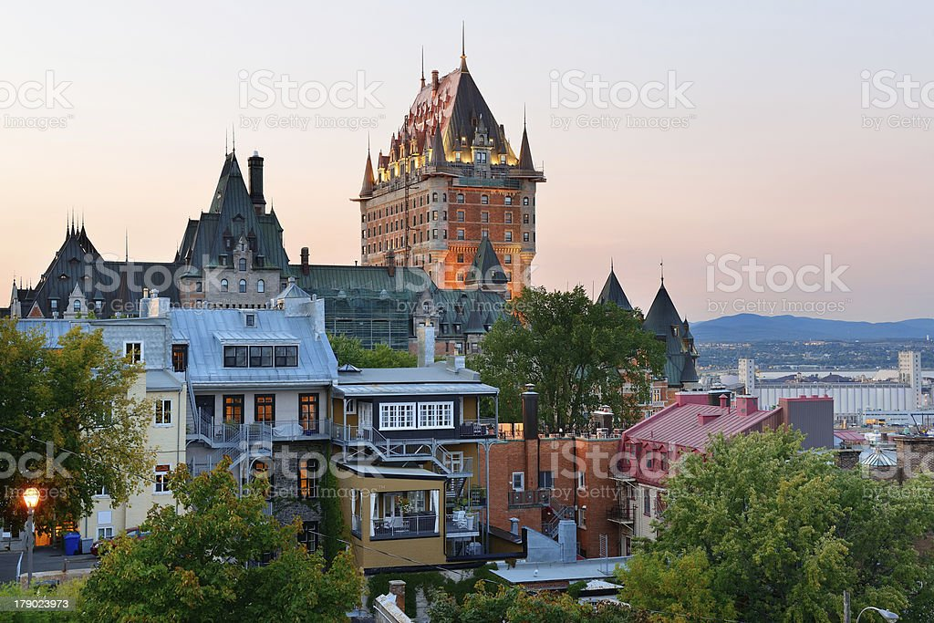 Skyline of Quebec City at sunset stock photo