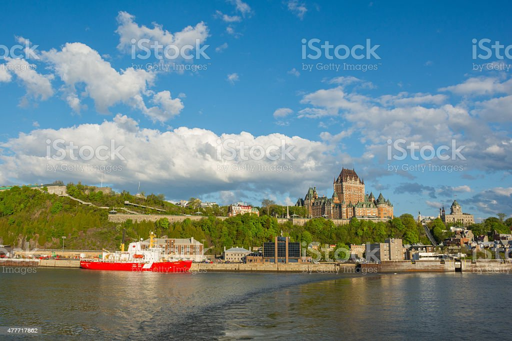 Skyline of Quebec city, Canada including Chateau Frontenac stock photo