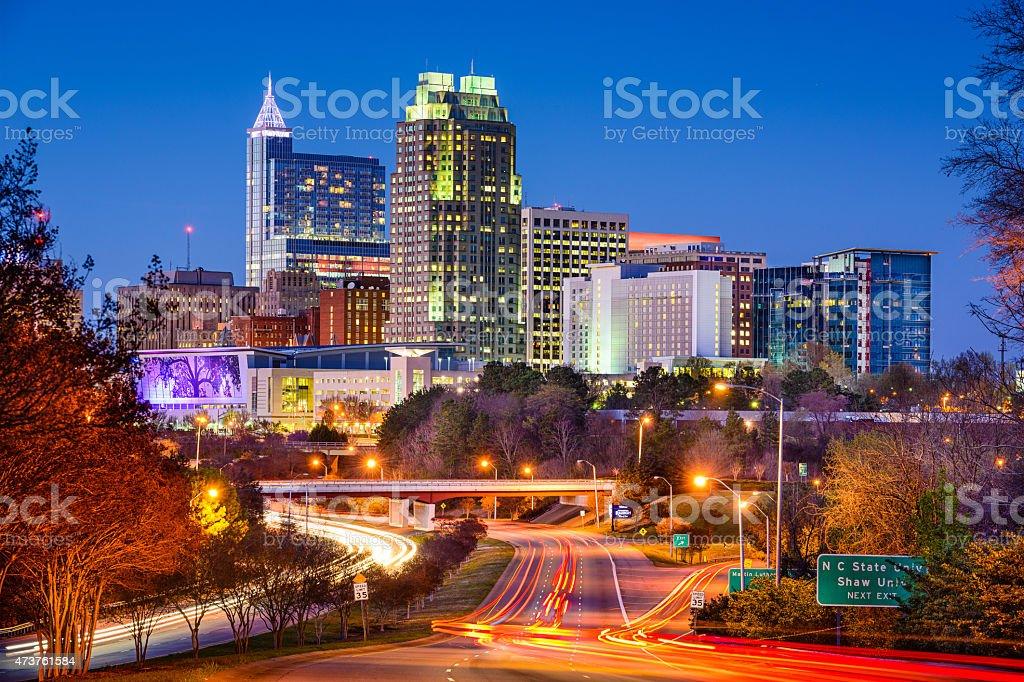 Skyline of Raleigh, North Carolina stock photo