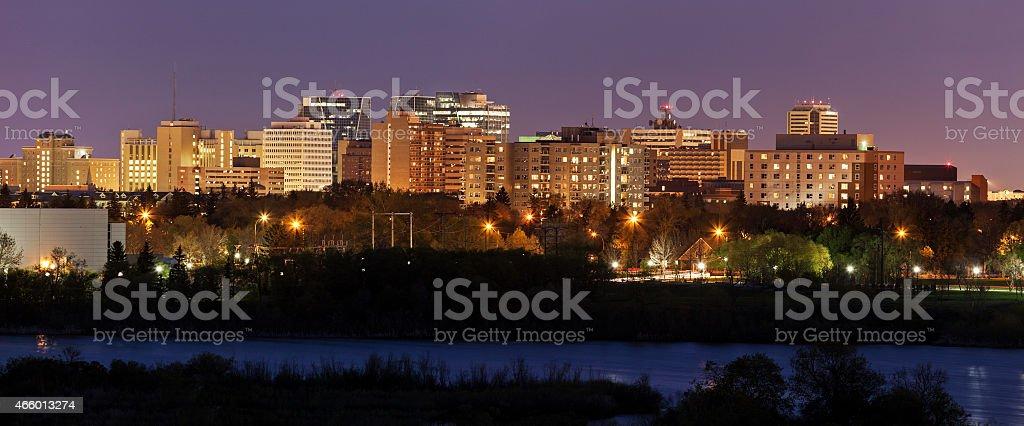 Skyline of Regina, Saskatchewan at night stock photo