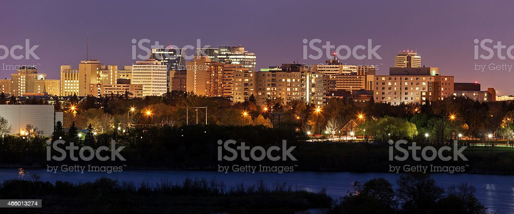 Skyline of Regina, Saskatchewan at night stock photo