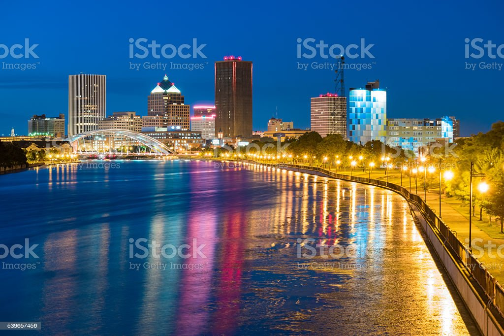 Skyline of Rochester New York USA at Night stock photo