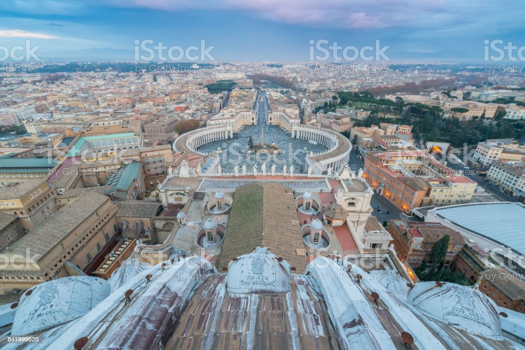 skyline of Rome from the dome of St Peter's Basilica stock photo