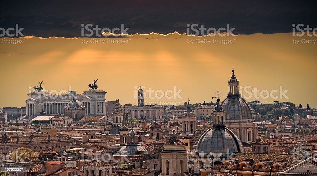 Skyline of Rome with Dramatic Sunset royalty-free stock photo