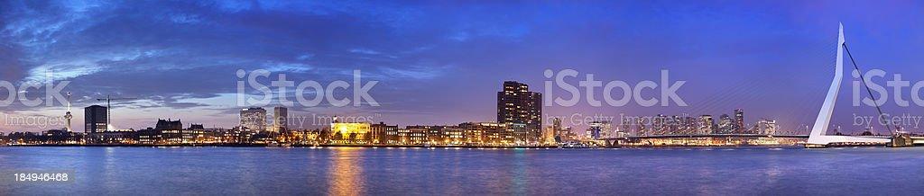 Skyline of Rotterdam, The Netherlands across river Meuze at night stock photo