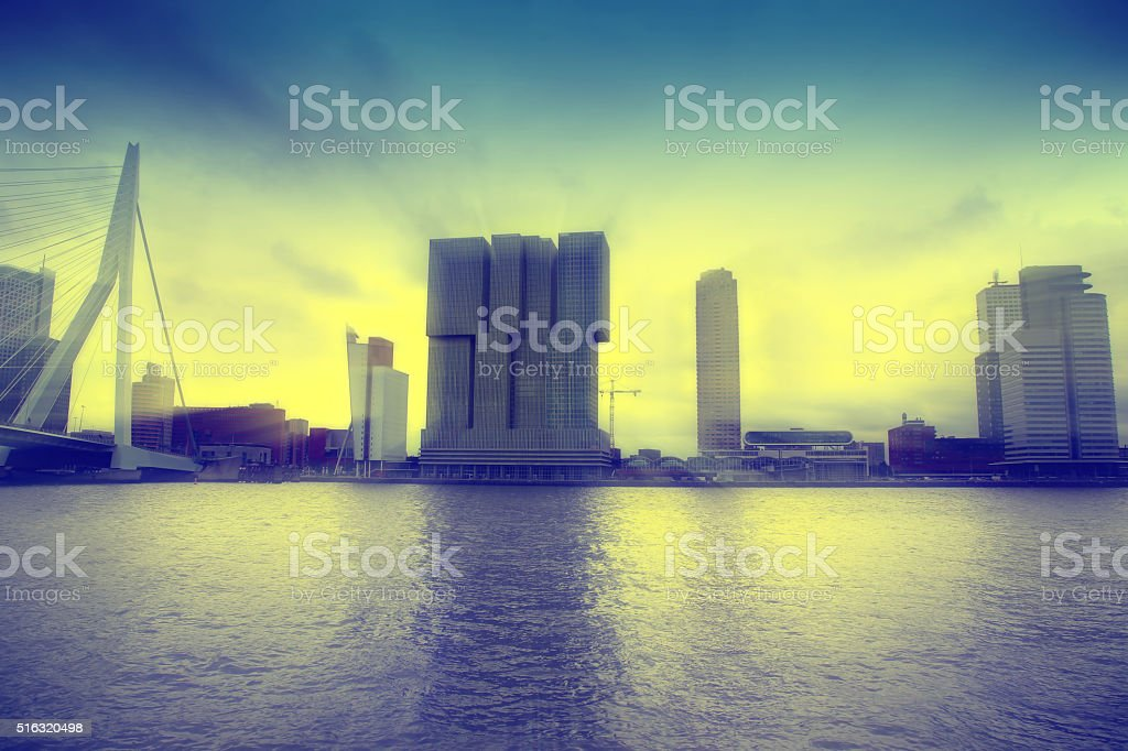 skyline of Rotterdam, The Netherlands stock photo