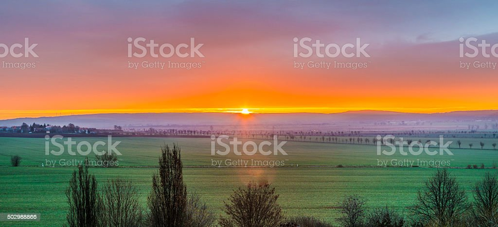 skyline of rural area in Thuringia, Bad Frankenhausen stock photo