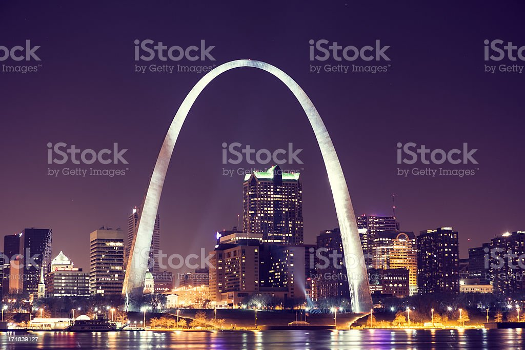Skyline of Saint Louis with Gateway Arch by night stock photo