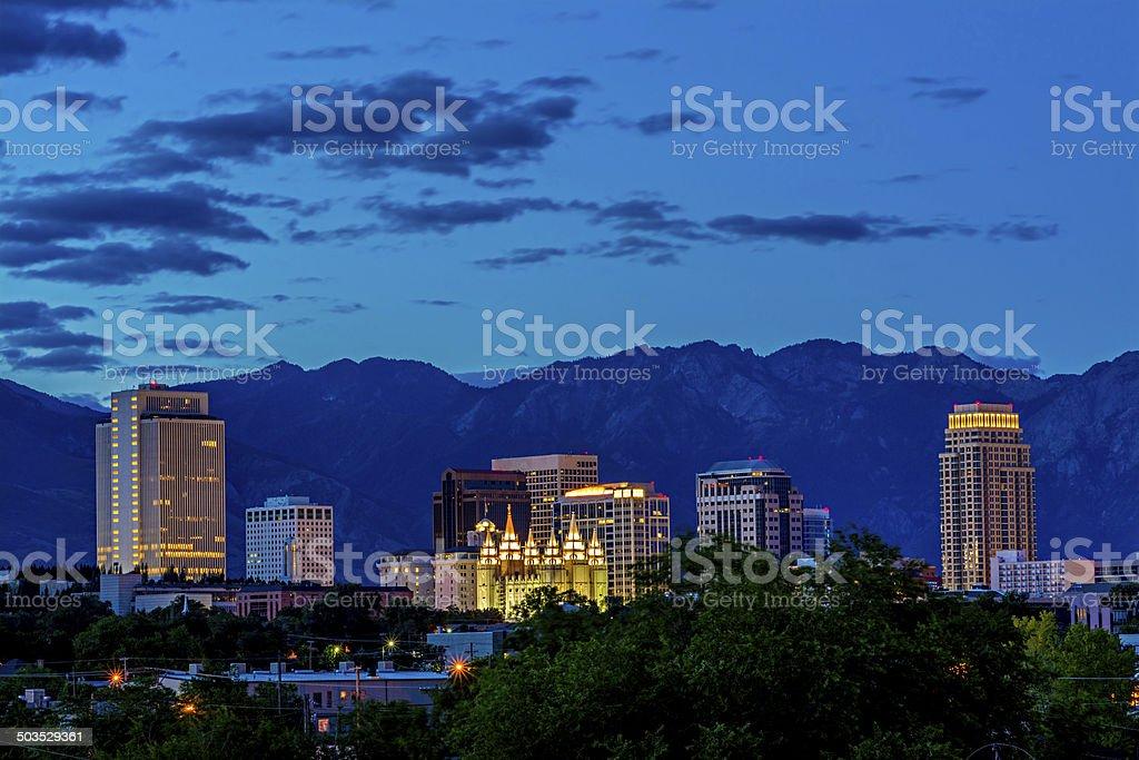 Skyline of Salt Lake City night stock photo