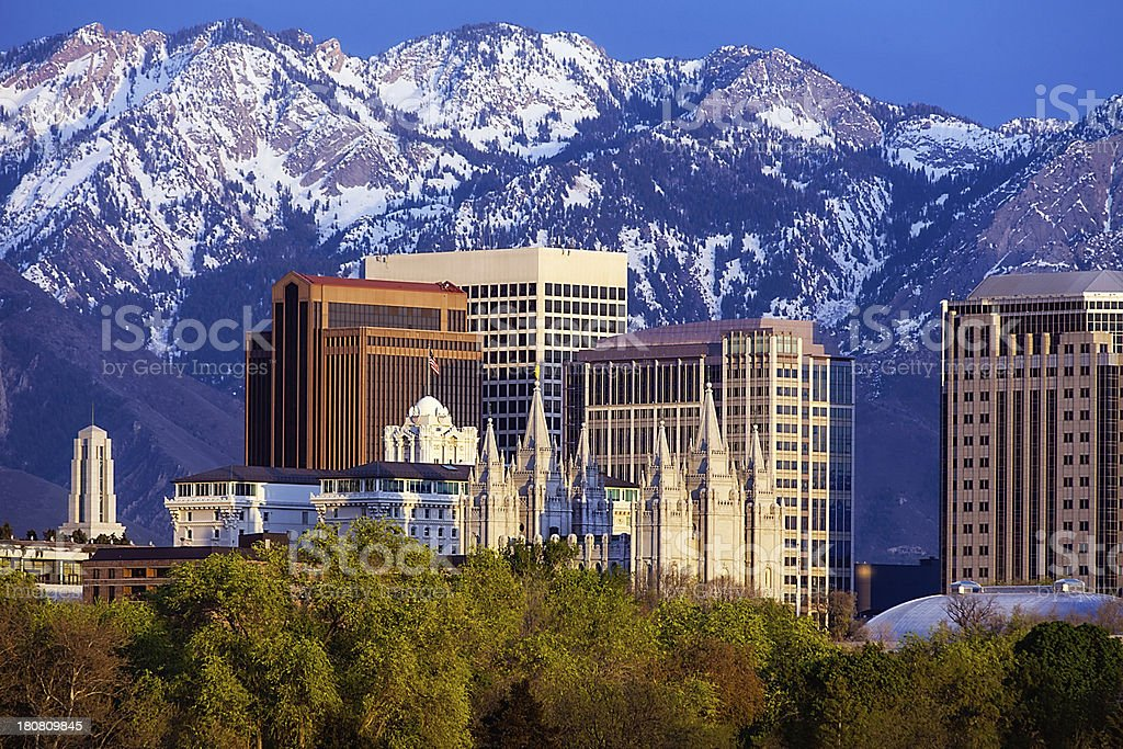 Skyline of Salt Lake City, Utah in spring stock photo