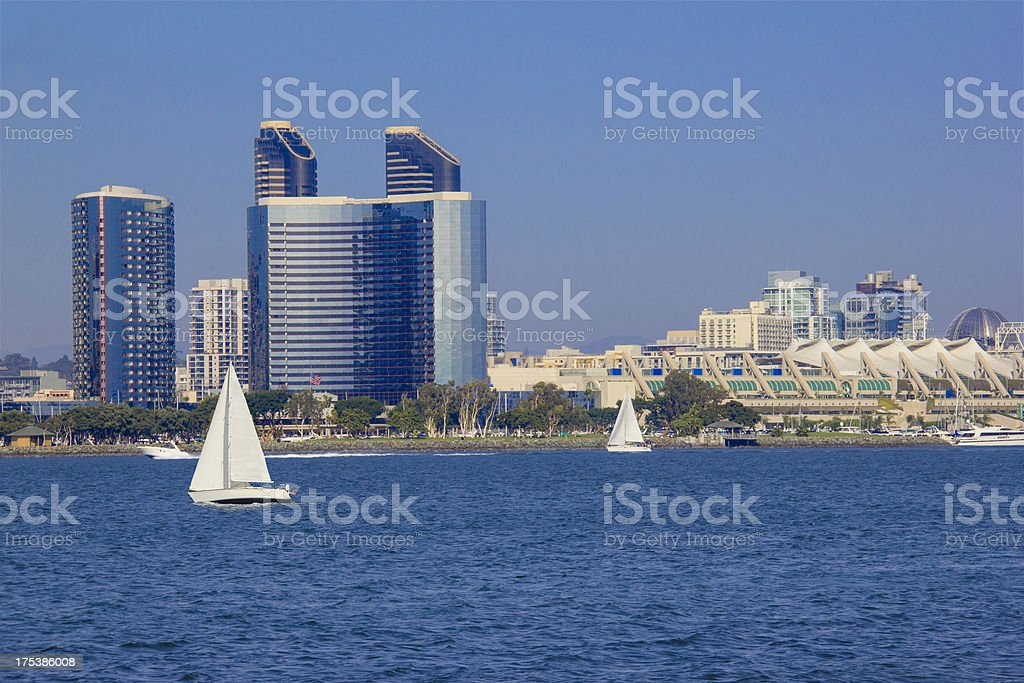 Skyline of San Diego, California with ocean as a foreground stock photo