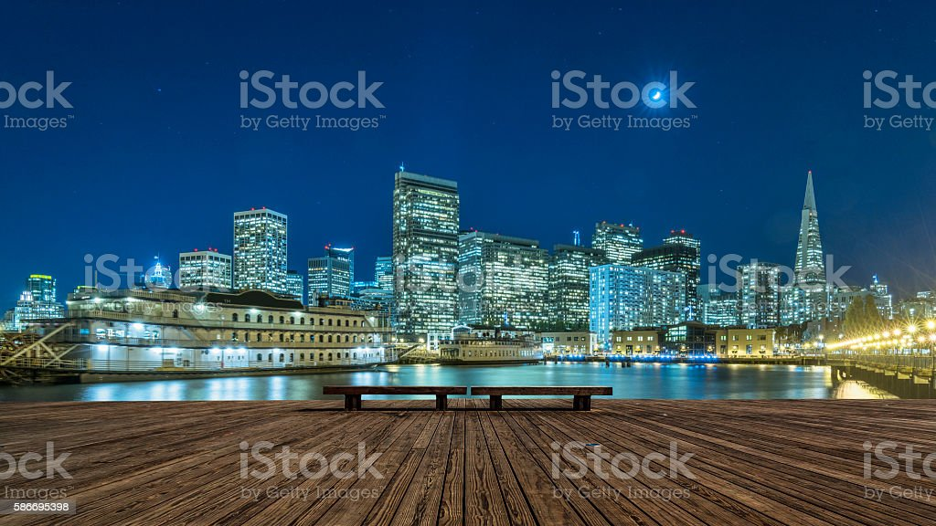 skyline of San Francisco at night stock photo