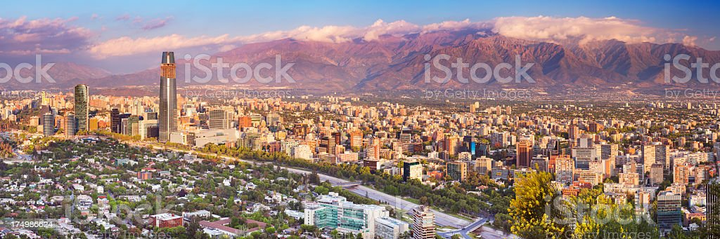 Skyline of Santiago de Chile from Cerro San Cristobal, sunset stock photo