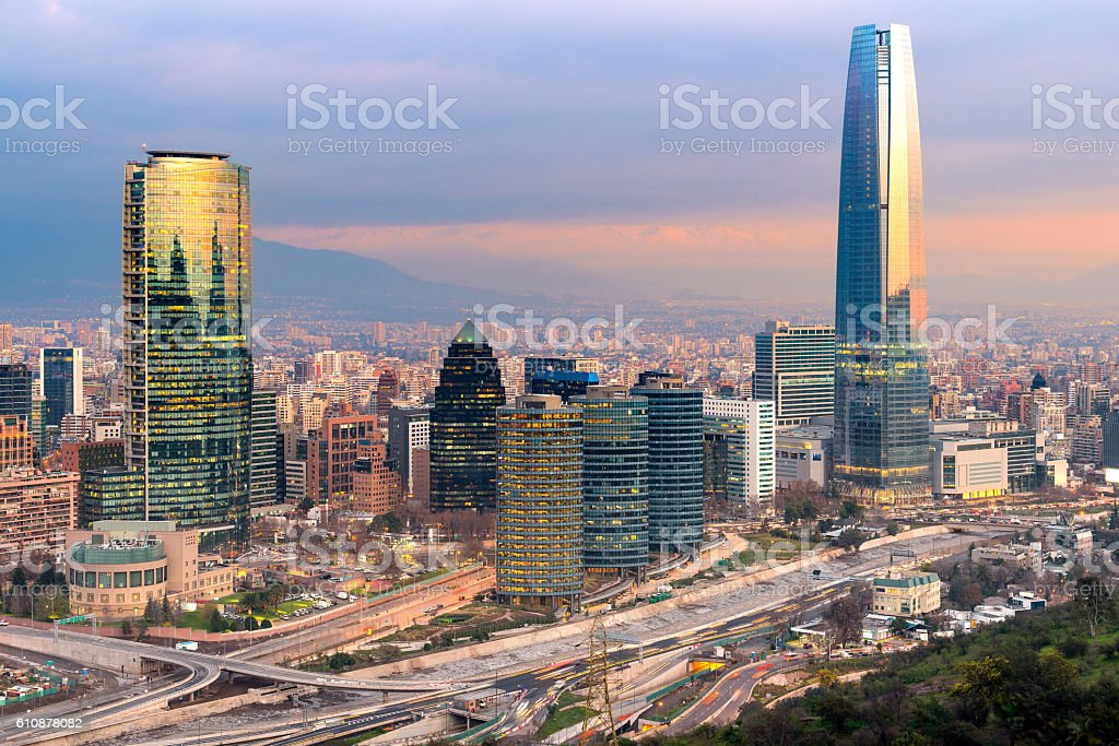 Skyline of Santiago de Chile stock photo