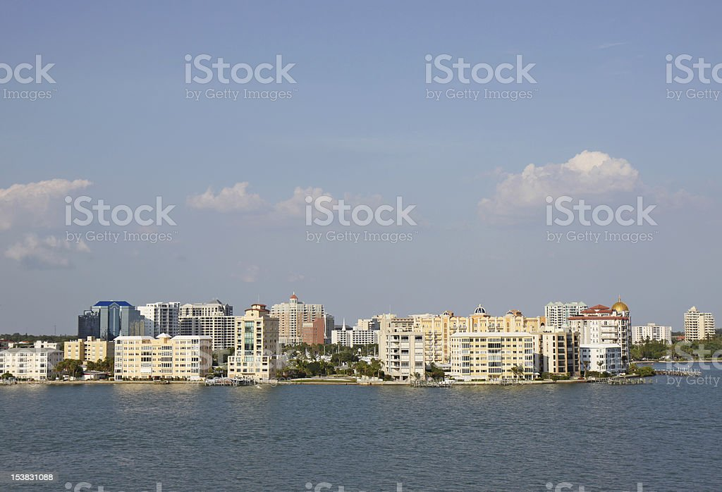 Skyline of Sarasota, Florida, viewed from above the water stock photo