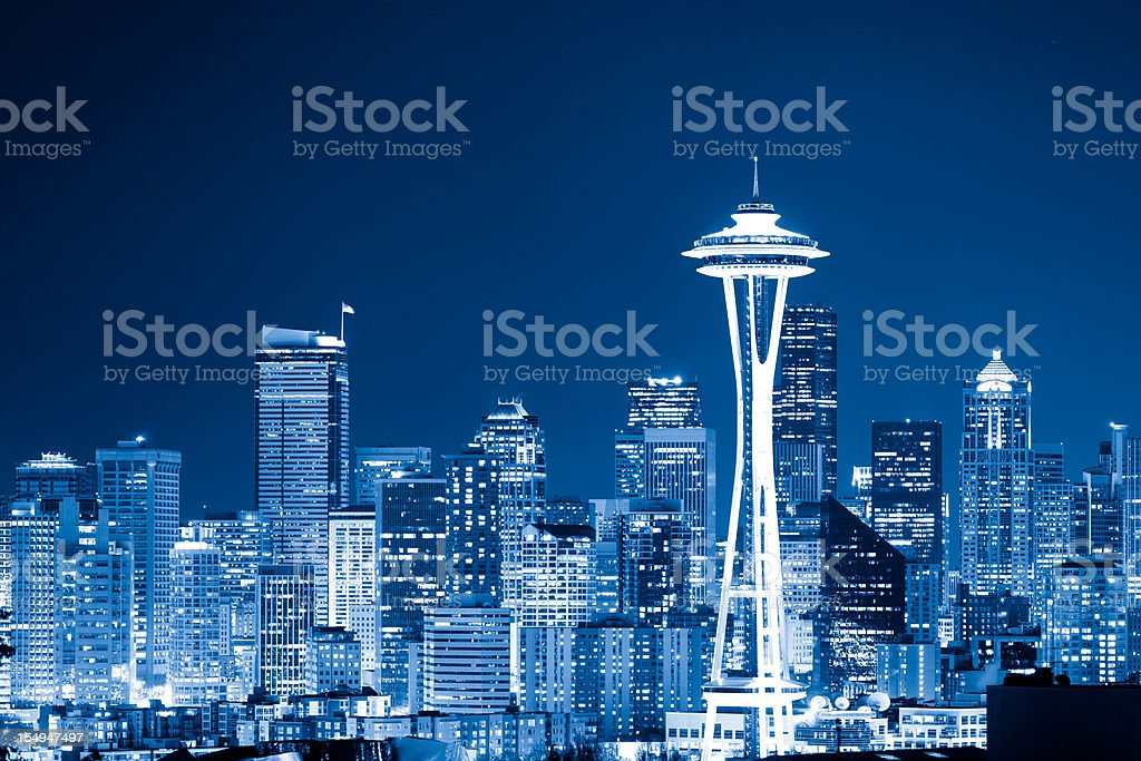 Skyline of Seattle by night stock photo