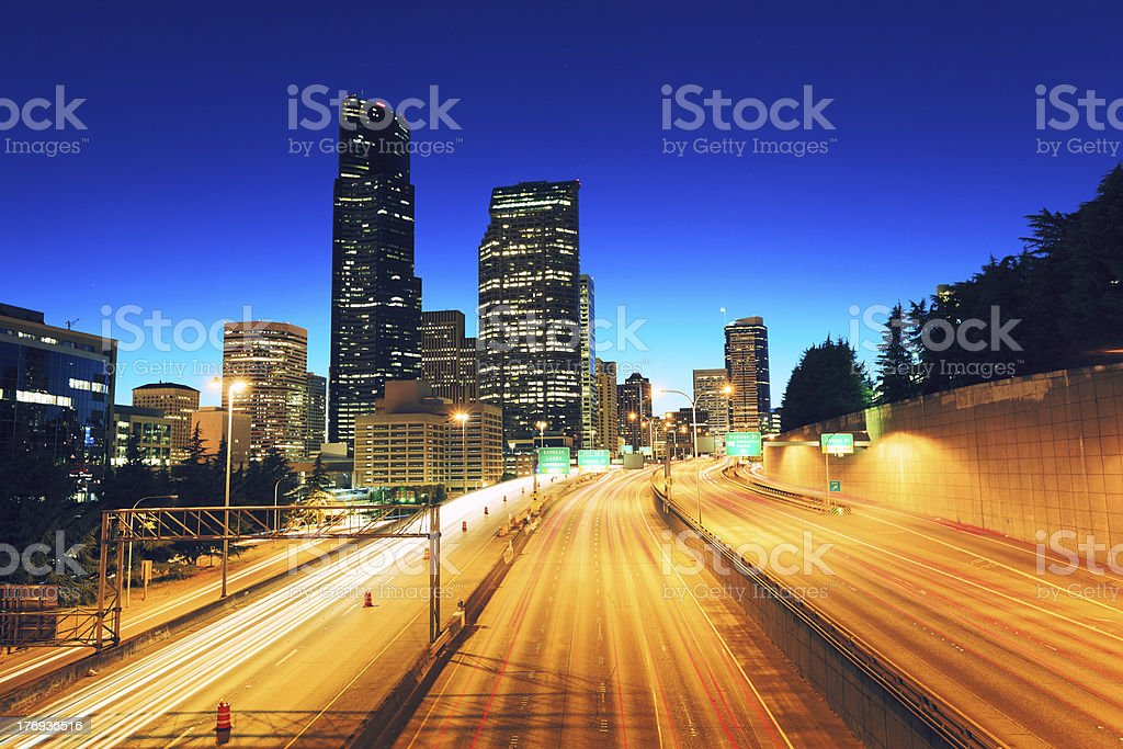 Skyline of Seattle by night royalty-free stock photo