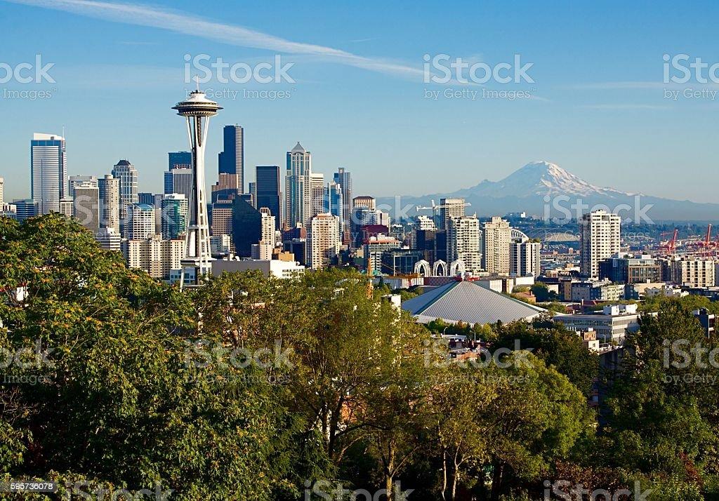 Skyline Of Seattle Featuring Mount Rainier stock photo