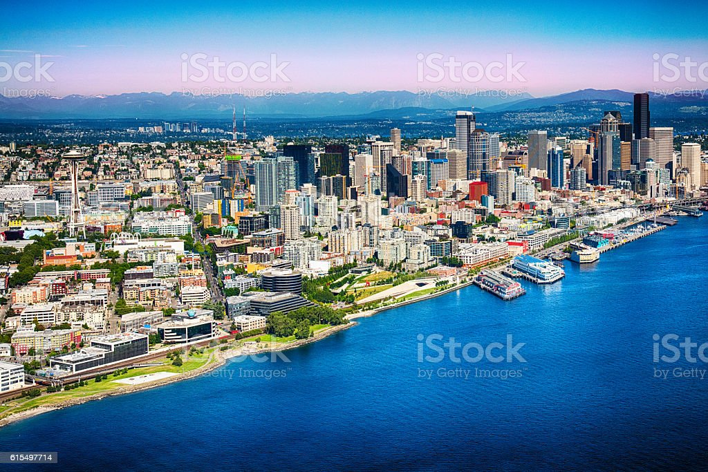 Skyline of Seattle stock photo