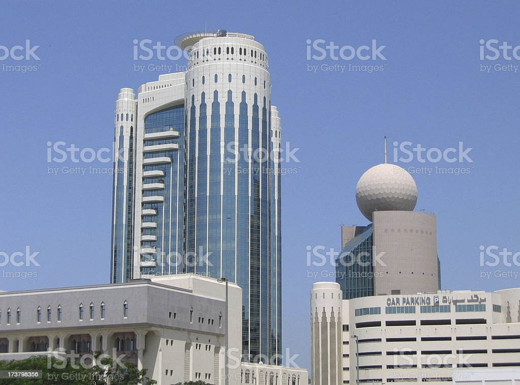 skyline of several high rise office buildings in dubai royalty-free stock photo