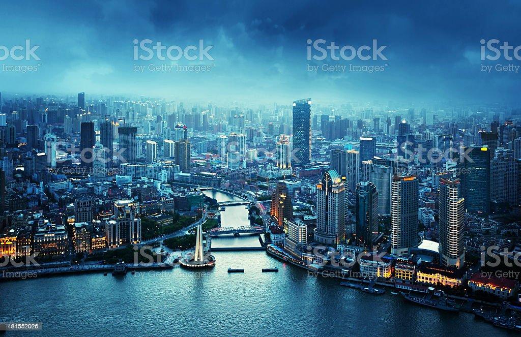 skyline of Shanghai at sunset, China stock photo